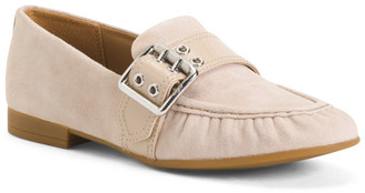 Suede Slip-on Loafers With Buckle