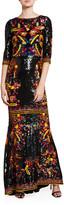 Alice + Olivia Jae Sequined 3/4-Sleeve Keyhole-Back Gown