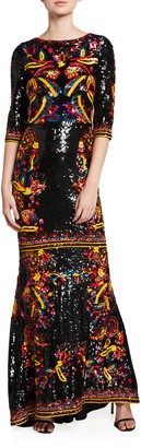 Alice + Olivia Jae Sequined 3/4-Sleeve Keyhole-Back Gown