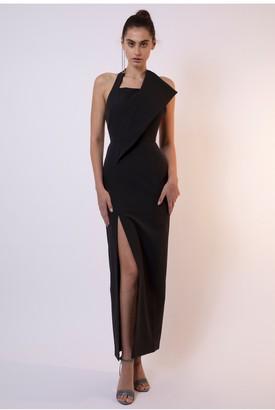 Linzi AQ/AQ Cobra Halter Neck Maxi Dress - Black