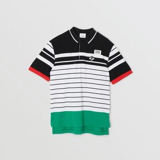 Burberry Logo Graphic Striped Cotton Pique Polo Shirt