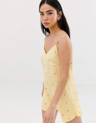 Obey Playsuit With Scoop Back In Ditsy Fruit Print-Yellow