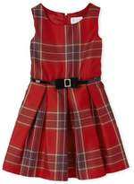 The Children's Place Girls 4-16 Sleeveless Holiday Christmas Plaid & Bow Dress