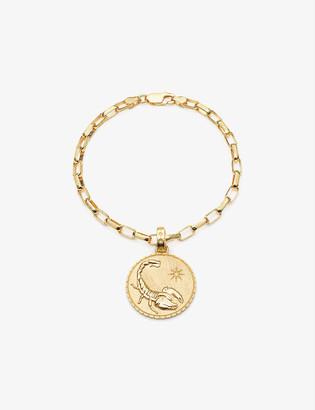 Rachel Jackson Zodiac Art Coin Scorpio statement 22ct gold-plated sterling silver bracelet
