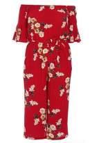 Quiz Curve Red Crepe Floral Bardot Frill Jumpsuit