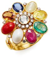 Amrapali 18K Yellow Gold & Navratna Stone Ring