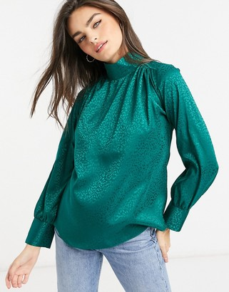 Closet London high neck jacquard blouse in emerald green
