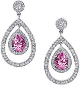 Lafonn Sterling Silver Lab-Grown Pink Ruby Sapphire & White Simulated Diamond Teardrop Earrings