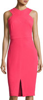 Jax Sleeveless Halter-Neck Midi Dress, Coral