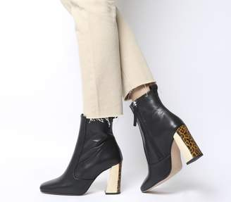 Office Aries Square Toe Boots Black Leather Leopard Gold Mix Heel