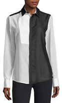CNC Costume National Long-Sleeve Colorblock Shirt, Black/White