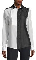 CNC Costume National Long-Sleeve Colorblock Shirt, Black/White