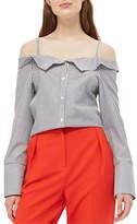 Topshop Tie Side Stripe Bardot Top