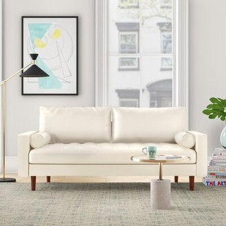 "Foundstone Lincoln 69.68"" Square Arm Sofa Fabric: White Faux Leather"