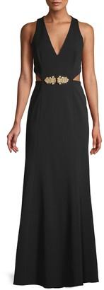 BCBGMAXAZRIA Sleeveless Cut-Out Gown