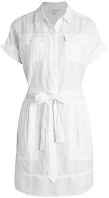 Pure Navy Utility Linen Shirtdress