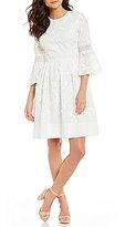 Eliza J 3/4 Bell Sleeve Fit & Flare Dress