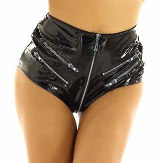 inlzdz Womens Patent Leather High Waist Zip Up Booty Shorts Hot Pants Rave Dance Party Clubwear Black L