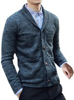 uxcell Men Shawl Collar Straight Pockets Slim Fit Knit Cardigan M