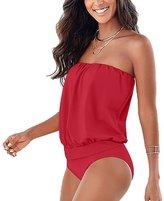 Leezeshaw Women's Plus Size Strapless Solid Bikini Set Swimsuit Beachwear