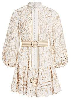 Zimmermann Women's Edie Embroidered Lace Mini Dress