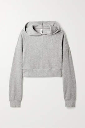 Alo Yoga Muse Cropped Ribbed Fleece Hoodie - Gray