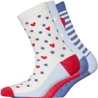 Lovestruck Womens Three Pack Socks Heart Denim