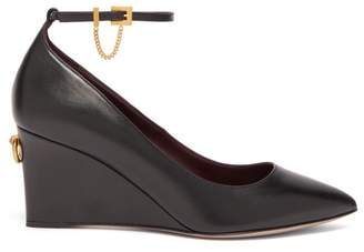 Valentino Ringstud Pointed Leather Wedge Pumps - Womens - Black