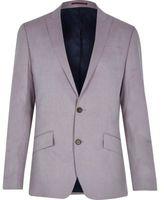 River Island MensPink linen-blend slim blazer
