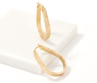 Gold One 1K Gold Diamond-Cut Pear-Shaped Hoop Earrings
