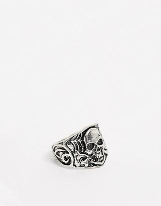 Asos Design DESIGN skull ring in burnished silver tone