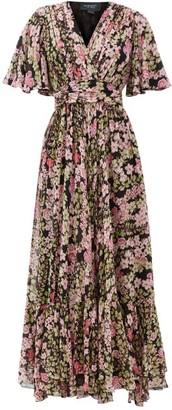 Giambattista Valli Cape-sleeve Floral-print Silk Maxi Dress - Black Multi