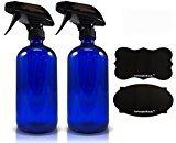 16oz Cobalt Glass Refillable Spray Bottles with Reusable Chalk Labels (2 Pack)