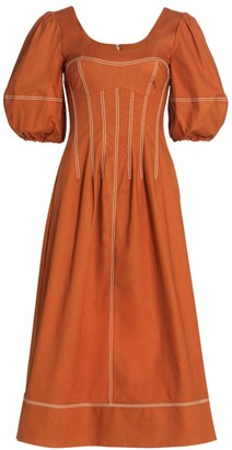 Jonathan Simkhai Lena Puff-Sleeve Midi Dress