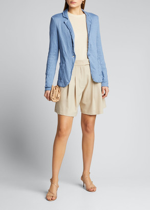 Majestic Filatures Stretch Linen One-Button Raw-Edge Jacket