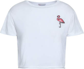 RED Valentino Cropped Embroidered Stretch-modal Jersey T-shirt