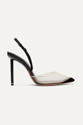 Alexander Wang Alix Mesh And Suede Slingback Pumps - Black