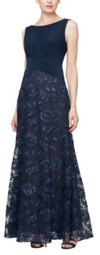 Alex Evenings Rosette Tulle Gown