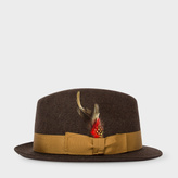 Paul Smith Men's Brown Wool-Felt Trilby With Feather