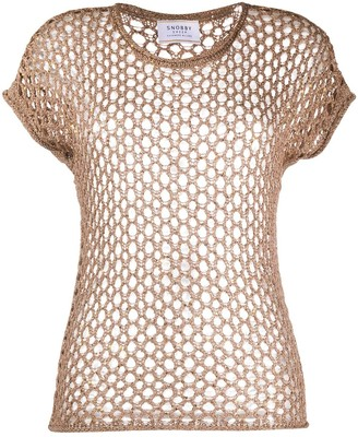 Snobby Sheep sequinned perforated T-shirt