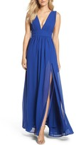 LuLu*s Women's Plunging V-Neck Chiffon Gown