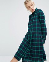 Monki Exclusive Plaid Check Midi Shirt Dress