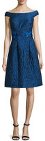 Rickie Freeman For Teri Jon Off-the-Shoulder Fit & Flare Dress