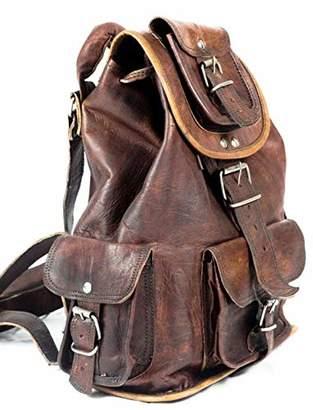 "ND 15"" Genuine Leather Rucksack Backpack Hiking Travel Picnic Laptop Everyday Backpack School Drawstring Women Rucksack Great Gift Sale!"