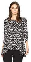 Anne Klein Women's Printed Trapeze High Low Top