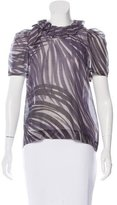 Peter Som Ruffle-Trimmed Abstract Print Top