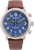 Shinola The Runwell 41mm Chronograph Stainless Steel And Leather Watch - Blue