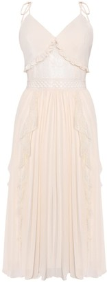 True Decadence Cream Cami Pleated Low Back Midi Dress