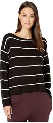 Eileen Fisher Lightweight Cozy Tencel Stretch Bateau Neck Box-Top (Black/Soft White) Women's Clothing