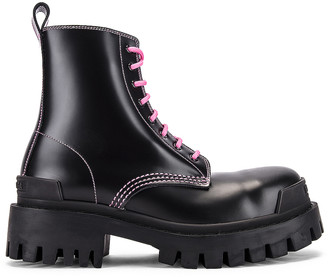 Balenciaga Strike Booties in Black & Pink | FWRD